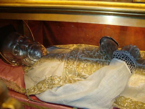 The incorrupt body of St. Philip in n Santa Maria in Valicella. No bones were ever taken and the only first class relic of him is a flake of skin. His face suffered slightly, was covered with a silver mask, which St. Philip prophesied before his death.