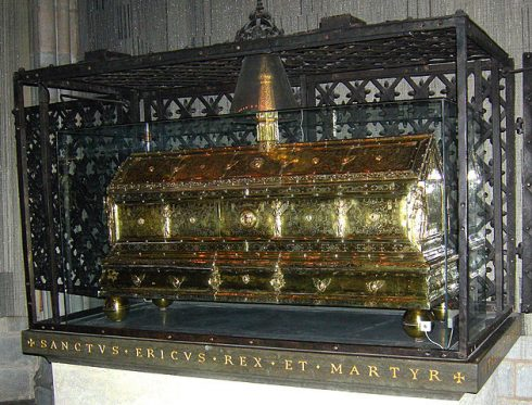 Casket of Eric the Saint in Uppsala Cathedral. Photograph taken by Mark A. Wilson (Department of Geology, The College of Wooster).