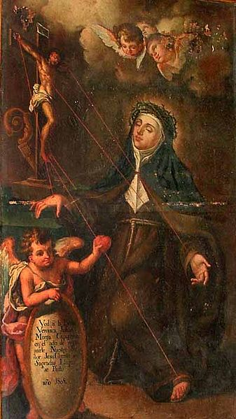 Painting of Saint Veronica Giuliani indicating the places she received the stigmata.