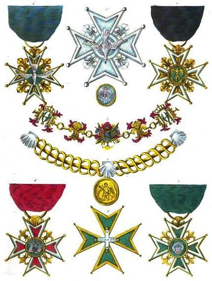 Collection of historical orders of chivalry civil and military...: 1. Order of Saint Michael, collar (France) 2. Order of Saint Michael, badge (France) 3. Order of the Holy Spirit, collar (France) 4. Order of the Holy Spirit, badge (France) 5. Order of the Holy Spirit, star (France) 6. Order of Notre-Dame du Mont-Carmel et de Saint-Lazare de Jérusalem Réunis, badge on red ribbon for commanders (France) 7. Order of Notre-Dame du Mont-Carmel et de Saint-Lazare de Jérusalem Réunis, badge on green ribbon for novice and knigts (France) 8. Order of Notre-Dame du Mont-Carmel et de Saint-Lazare de Jérusalem Réunis, cross for knights and commanders since 1774 (France)