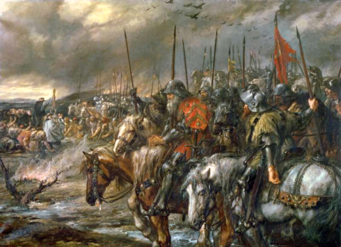 Morning of the Battle of Agincourt, October 25, 1415.