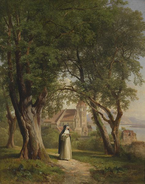 A nun in the Monastery gardens, painted by Anton Hansch.