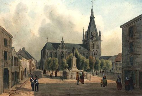 Painting of the Cathedral of Saint-Paul de Liège by Joseph Fussell.
