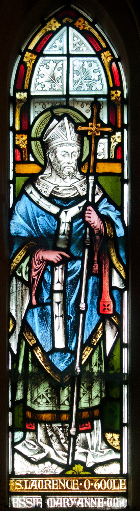 Stained glass window of Saint Laurence O'Toole in Christ Church Cathedral, Dublin, Ireland.