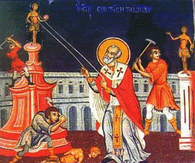 St. Aemilianus destroyed many pagan idols and temples. Here he is shown using ropes to pull down a pagan idol, while his followers are breaking them up with picks and axes.