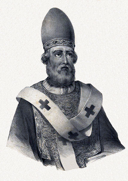 Lithography of Pope Saint Damasus I (Lisboa, 1840), by Pedro Augusto Guglielmi.