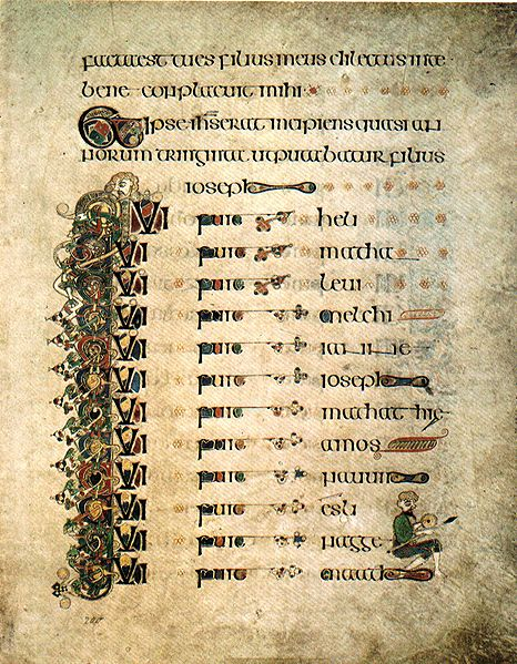 St. Luke's genealogy of Jesus, from the Book of Kells, transcribed by Celtic monks c. 800.