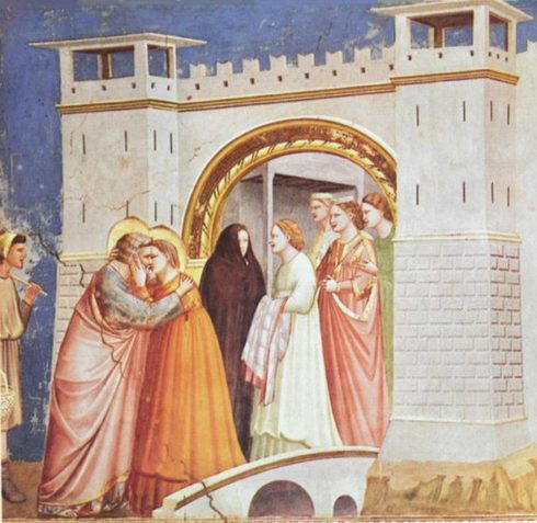 Painting by Giotto of St Joachim and St. Anne meeting at the Golden Gate.