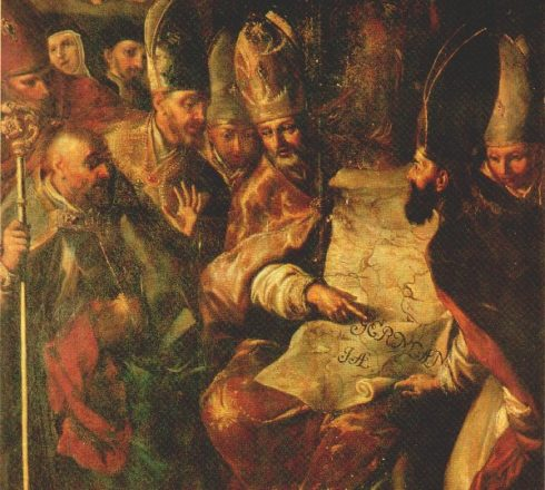 Painting of St. Boniface establishing the four ancient Bavarian dioceses, pointing them out to the various Bishops and Abbot.
