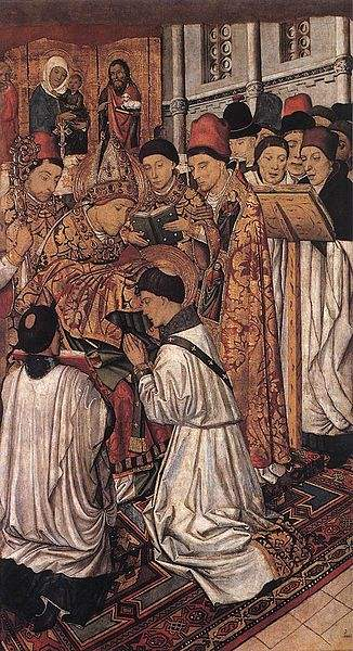 St. Vincent receiving the Diaconate. Painting by Jaume Huguet