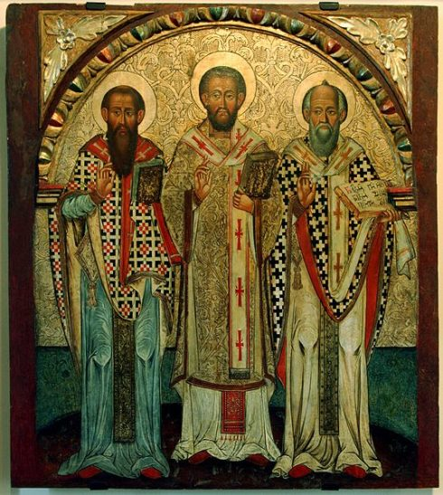 The Fathers of the Church: Saint Basil of Caesarea, Saint John Chrysostom, Saint Gregorius I Magnus - an icon of 17th cent. from Lipie, Historic Museum in Sanok, Poland