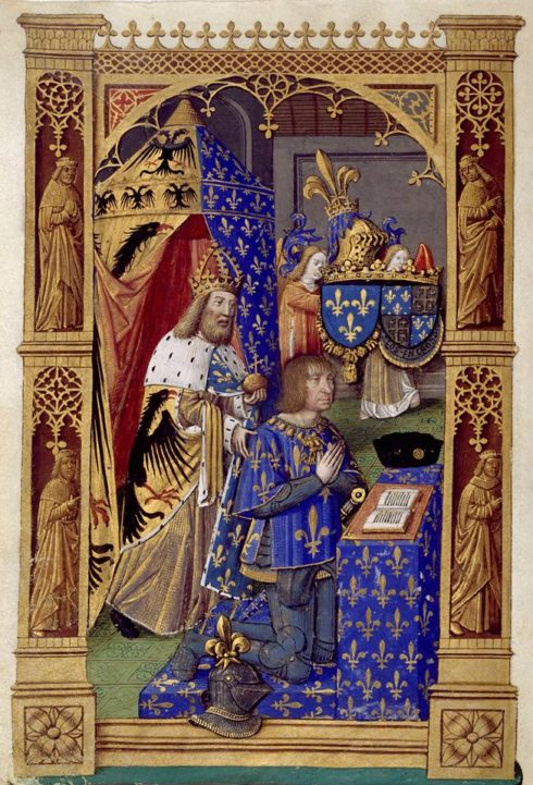 Charlemagne assists the praying Louis XII of France