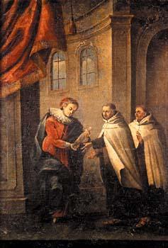Princess Polyxena von Lobkowicz entrusting the Statue to the Carmelite Friars.