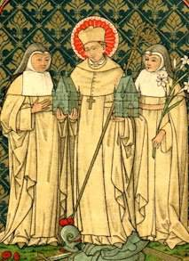 St. Gilbert of Sempringham with two Gilbertine nuns