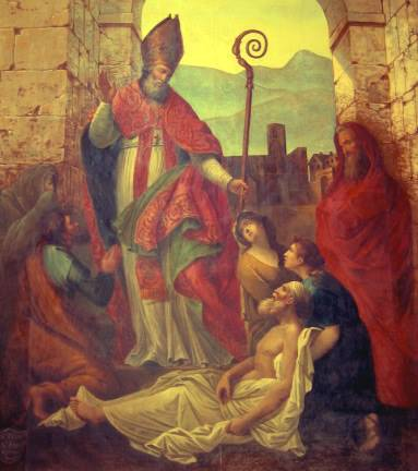 One of the many miracles by St. Fulcran. Painting by François Matet.