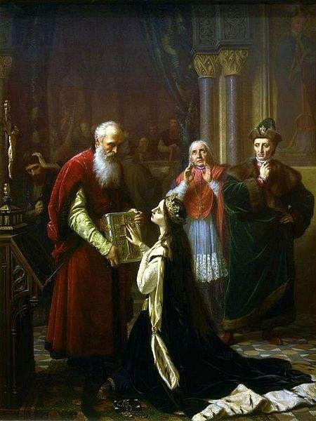 Queen Jadwiga's oath by Józef Simmler