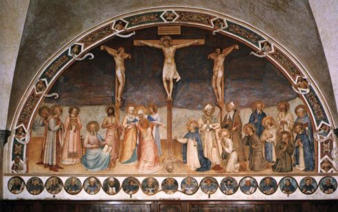The Crucifixion by Bl. Fra Angelico in the Convento di San Marco, Florence. The giant fresco occupies the entire wall opposite to the entrance of the Chapter Room. The saints depicted are, from the left: Cosmas and Damian, Lawrence, Mark the Evangelist, John the Baptist, the Virgin and the pious women; to the right of the Cricifixion kneeling Dominic, Jerome, Francis, Bernard, John Gualberto and Peter the Martyr, standing Zanobi (or perhaps Ambrose), Augustin, Benedict, Romuald and Thomas of Aquino. Around the fresco, on the border, are the busts of the Prophets and Sibyls in ten hexagons; in the centre, above the Crucifixion the pelikan, symbol of the redemption. Below, in the lower frieze there are 17 medallions with portraits of the most illustrious members of the Dominican Order.