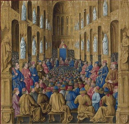 Pope Urban II preaching at the Council of Clermont