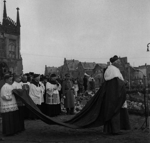 Cardinal von Galen amidst the ruins of Münster's Cathedral on March 16, 1946, shortly before his death.