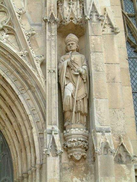 Statue of St John of Beverley on the Minster, Beverley, East Riding of Yorkshire. Photo by Graham Hermon.