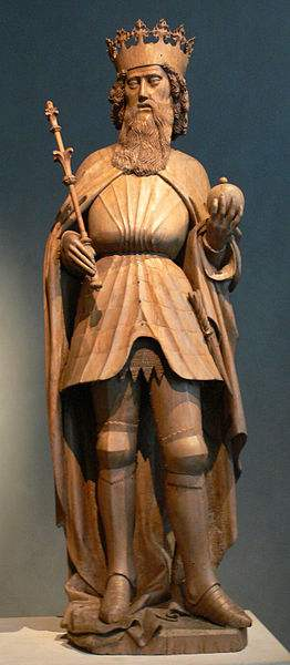 Statue of St. Sigismund of Burgundy, from the Freising Cathedral Altarpiece of 1443 and now in the Bavarian National Museum.
