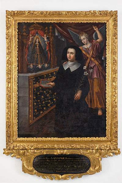 A painting of about 1687 showing Anne de Xainctonge, foundress of the Society of the Sisters of Saint Ursule of Ven. Anne de Xainctonge