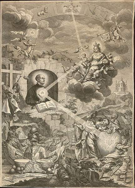IHS Monogram - St. Ignatius of Loyola vision of the Jesuits with Our Lady and the Infant Jesus at the shrine of Our Lady of Montserrat in March 1522. It was then that he formulated the fundamentals of the Spiritual Exercises.