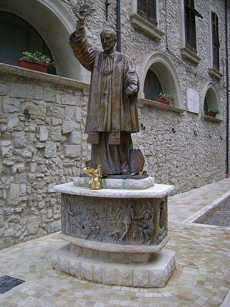 The bronze statue of St. Francis Caracciolo, beside the church in Villa Santa Maria, province of Chieti, Abruzzo.