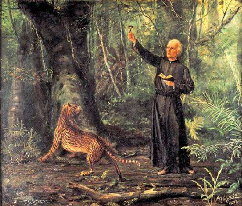 St. José de Anchieta preaching in the jungle. Painting by Benedito Calixto.