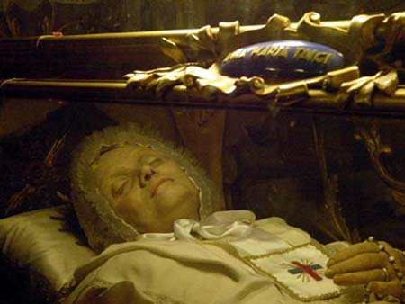 The incorrupt body of Bl. Anna Maria Gesualda Antonia Taigi at San Crisogono in Rome.