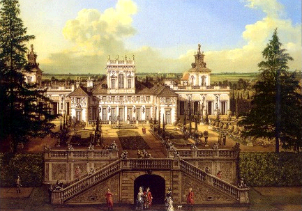 Wilanów Palace seen from the garden, painted by Bernardo Bellotto.
