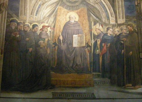 Photo of the Vallumbrosan Order by sailko. Fresco of St. John Gualbert, seated with other Vallombrosians Saints by Neri di Bicci, Santa Trinita in Florence.