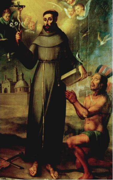 St. Francis Solanus with a native of Tucuman (Anonymous, ca. 1588) (Notice his trademark violin on the ground by his right foot)