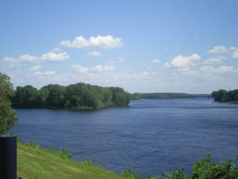 The mouth of the Trois-Rivières in Quebec, Canada. The Three Rivers trading post, an up-river settlement, was consecrated by the Jesuits to the Immaculate Conception in 1634.