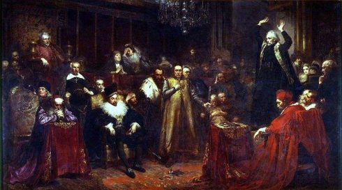 Skarga's Sermon, by Matejko, 1862. Fr. Skarga (standing, right) preaches, while King Sigismund III Vasa sits in the first row, left of center. Painting by Jan Matejko