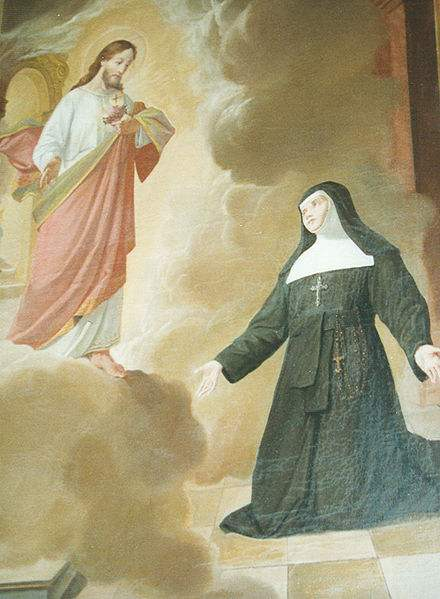 Our Lord appearing to St. Margaret Mary Alacoque.
