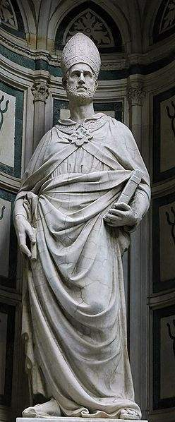 St Eligius. Statue commissioned by Maneschalchi (guild of farriers). Orsanmichele, Florence.