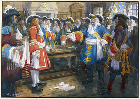 Frontenac receiving the envoy of Sir William Phipps demanding the surrender of Quebec, 1690