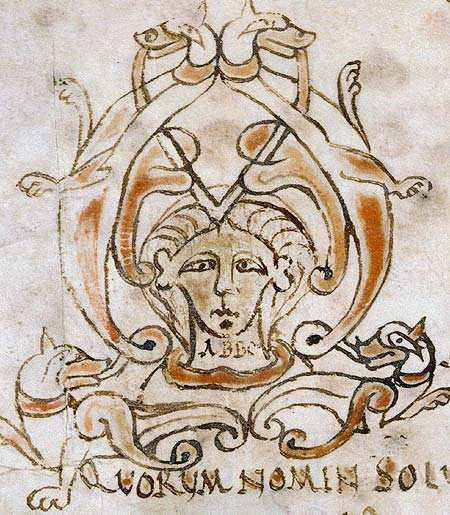 """Title page from a tract written by Abbo of Fleury, showing the word """"ABBO"""", created between 962 and 986 in Fleury Abbey."""