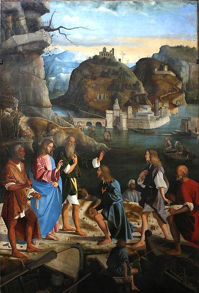 Jesus calling the Sons of Zebedee. Painting by Marco Basaiti.