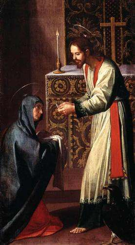 St. John the Evangelist giving Communion to the Virgin. Painting by Alonzo Cano.