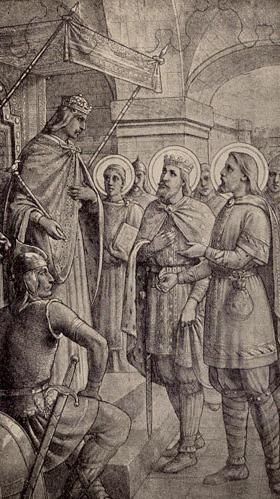 Saint Judicael presented Dagobert, King of the Franks.