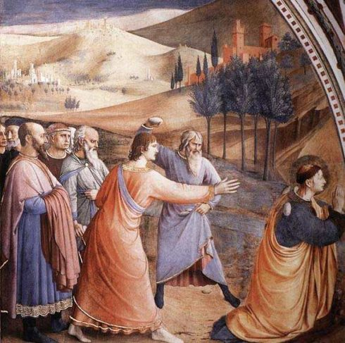 Stoning of St. Stephen, with Saul (St. Paul) holding their garments.