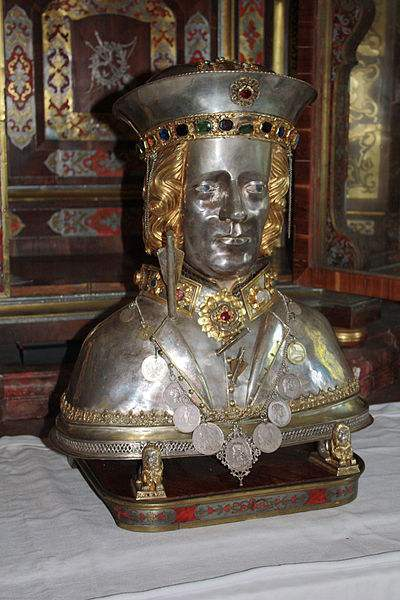 The skullcap reliquary of Saint Sebastian in the Church St. Sebastian in Ebersberg, Bavaria, Germany. Photo by J. Patrick Fischer.