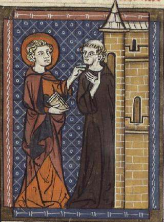 Saint Fursey and the monk; from a 14th-century manuscript.