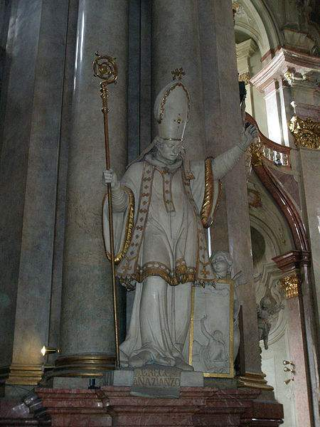 Statue of St. Gregory of Nazianzus in St. Nicolas Church, Prague.