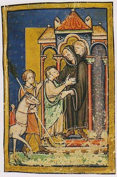 A miniature in the British Library Yates Thomson MS 26, Bede's Prose Life of St Cuthbert, depicting St. Cuthbert's meeting with Boisil at Melrose.