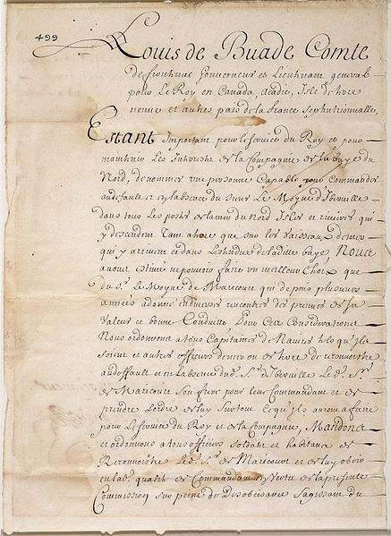Manuscript, Commission by Louis de Buade, comte de Frontenac, naming Le Moyne de Maricourt as a replacement of Le Moyne d'Iberville, May 15, 1690.