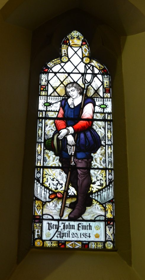 A stained glass window in St. Mary's Catholic Church in Chorley, England. Permission to use by Roberta Estes.