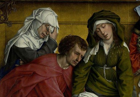 Descent from the Cross - Detail Mary of Clopas, Saint John the Evangelist and Mary Salome, painted by Rogier van der Weyden.